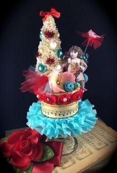 Valentine Keepsake Box w Fairy Girl Bottle Brush by ThePokeyPoodle