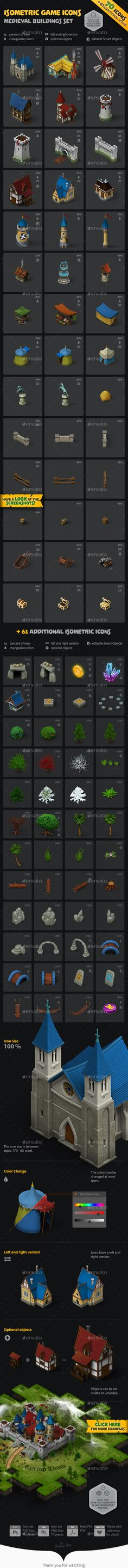 Isometric Game Icons - Medieval Buildings Set he icon set contains over 70 high quality, isometric icons. By combining and changing the color of single elements nearly endless variations are possible (take a look at the screenshots)! In addition there are also 61 bonus icons! The set is optimized for our GAME MAP GENERATOR but of course it works fine with the ISOMETRIC 3D MAP GENERATOR -2 and the 3D MAP GENERATOR – GEO, too.