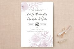 """""""Watercolor Floral"""" - Floral & Botanical Wedding Invitations in Fog by Jill Means."""
