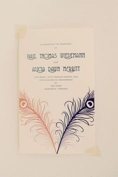1920s Wedding Invite. Something like this could be good for the art deco theme or the venetian masque!