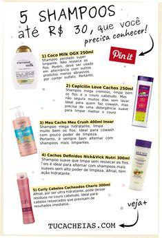5 Shampoos de até R$ 30, que você precisa conhecer • Tu Cacheias Pin It, 30, Blog, Oily Hair, Hydrate Hair, Scalp Scrub, Natural Hair, Getting To Know, Curls
