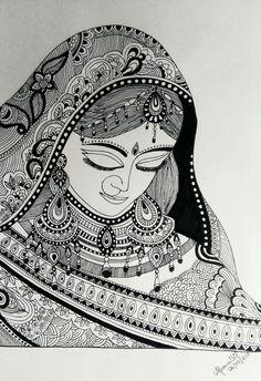 mandala girl mandalart in 201 Doodle Art Drawing, Zentangle Drawings, Art Drawings, Zentangles, Mandalas Painting, Mandalas Drawing, Madhubani Art, Madhubani Painting, Mandala Design
