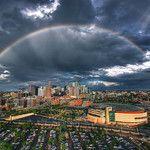 Denver  Double Rainbow over Skyline.