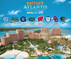 #Basketball fans are you ready to see #UNC, #UCLA, #Georgetown, #UF, #Butler, #OU, and #UAB battle in paradise at the 2014 #Battle4Atlantis?