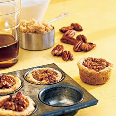 These tart-like cookies feature the flavors and textures of pecan pie -- tender, buttery crust, crunchy pecans, and brown-sugar filling -- all in one bite.