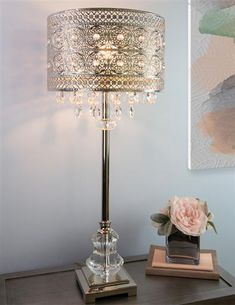Make a statement with this polished nickel and crystal jewel buffet table lamp. Showcasing a square polished nickel base, this in. H table lamp is perfect for modern or glam decor styles. The shade features a polished nickel medalli Silver Table Lamps, Buffet Table Lamps, Victorian Lighting, Looking For Houses, Lamp Shade Store, Shabby Chic Furniture, Home Lighting, Polished Nickel, Decor Styles