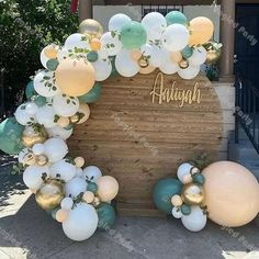 Balloon Set Includes: (91pcs=8ft) 91pcs Balloon CombinationMatte White(5inch*10pcs,10inch*30pcs)Cream Peach(5inch*10pcs,10inch*5pcs,18inch*1pc)Dusty Green(5inch*10pcs,10inch*10pcs)Chrome Gold(5inch*10pcs,10inch*5pcs)Free to you: 1 Roll Glue Dots, Balloon Chain,HookNote:-It is only for balloons, while not include flowers, leaves or other decorations.-Colors of balloon will not be pastel as the picture when it is inflated. It will be faded after inflated and put them under the sunshine or hard… Boy Baby Shower Themes, Baby Shower Balloons, Baby Shower Gender Reveal, Baby Boy Shower, Balloon Arch, Balloon Garland, Shower Party, Baby Shower Parties, Balloons Online