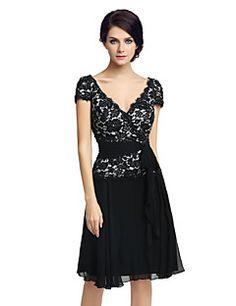 Κοκτέιλ+φόρεμα+φόρεμα+θήκη+/+στήλη+v-neck+γόνατο+σιφόν+με+δαντέλα+–+EUR+€+324.30