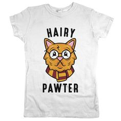 Hairy Pawter Cat Womens JR Slim Fit Tee White