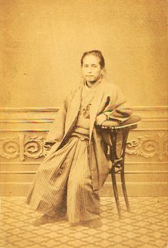 Japanese antique photograph. 勝海舟   Ktsu Kaisyuu. Edi-era/Meiji-era 1823-1899.  the captain of a ship. The first Japanese who makes passage to America.