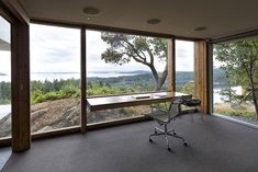 Home Office With A View.The office in this home on Pender Island in Canada, designed by Marko Simcic and Brian Boster.
