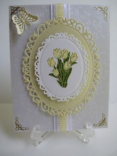 Classy Cards 'n Such: Butterflies  gold embossed corners and flower outline