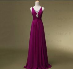 Custom A-line V-neck Floor-length Sleeveless Chiffon Beading Long Prom Dress Bridesmaid Dress Formal Evening Dress Party Dress 2013