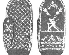 KNITTING PATTERN Vintage 30s Fair Isle Cross Country Skiing Mittens Instant Download PDF
