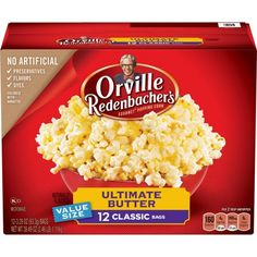 Pack) Orville Redenbacher's Gourmet Popping Corn, Pour Over Movie Theater Butter, Ounce Ounce Pouch, Best Popcorn, Popcorn Snacks, Popcorn Kernels, Popcorn Balls, Popcorn Recipes, Flavored Butter, Flavored Popcorn, Butter Popcorn, Corn In The Microwave