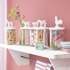 cute jar lid idea - spray paint plastic animals and stick 'em on.