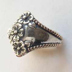 Sterling silver gold ring, floral band, silver band, flowers ring, two tones ring, oxidized silver ring, botanical ring - Come to life R2116