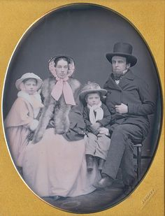 "Jeremiah Gurney, A Family of Four, c. 1850 from Dennis A. Waters Fine Daguerreotypes ""THIS IS WHY … Many people in the daguerreian era and even today would have agreed that the gallery of Jeremiah. Vintage Photos Women, Vintage Couples, Antique Photos, Vintage Pictures, Vintage Photographs, Old Pictures, Vintage Images, Victorian Photography, Old Photography"
