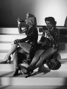 Marilyn Monroe and Jane Russell During a Break While Filming Gentlemen Prefer Blondes.