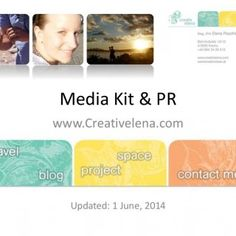 "Media Kit & PR www.Creativelena.com Updated: 1 June, 2014   ""Creativelena"" ... is both travel blog & project space at once. Besides publishing tra. http://slidehot.com/resources/media-kit-travel-blog-project-space-elena-paschinger-www-creativelena-com.52557/"