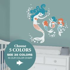 Putting together a nursery for your own little mermaid? These mermaid wall decals fit beautifully over a crib or changing table and will bring serenity