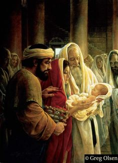 """Simeon takes the Christ Child in his arms...God promised him he would not see death before he had seen the Lord's Christ. Looking at Mary Simeon said """"yes, a sword will pierce through your own soul, that the thoughts of many hearts may be revealed"""""""