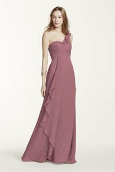 Delicate and stylish, this feminine crinkle chiffon bridesmaid dress was designed with ethereal beauty in mind! One shoulder bodice features cascading detailing on bust. Front cascading accent creates movement while leg slit adds drama for a flawless finish. Also available in Extra Length as Style 4XLF15734. Fully lined. Back zip. Imported polyester. Dry clean. To protect your dress, try our Non Woven Garment Bag.