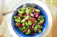 Broccoli Salad with Candied Pecans and Orange Vinaigrette