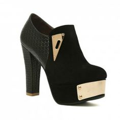$19.10 Elegant Women's Ankle Boots With Black Metal and Splice Design