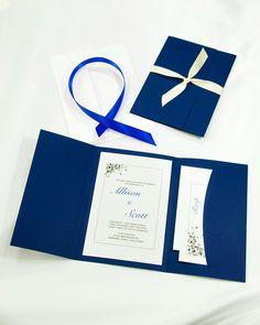 Navy Blue DIY printable pocket folder kit. #wedding invitation kits #navybluewedding invitations #navybluepocketfolderweddinginvitations