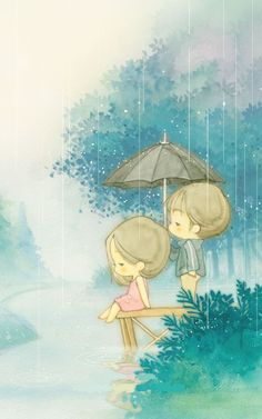 Bajo la lluvia. Cute.