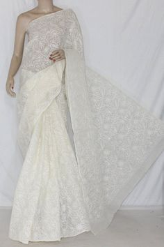 Off-White Hand Embroidered Allover Tepchi Work Lucknowi Chikankari Saree (With Blouse - Cotton) 14359
