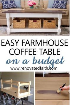 Check out these simple plans for a coffee table with storage anyone can build.  Whether your style is modern, coastal or more rustic, this step-by-step tutorial and video instructions for will show you how to build a coffee table with storage.  Included in these Ana White – inspired plans are décor ideas with trays.  These plans can be adapted to square tables or end tables. Diy Furniture On A Budget, Simple Furniture, Inexpensive Furniture, Diy Furniture Projects, Farmhouse Furniture, Diy Wood Projects, Furniture Making, Furniture Makeover, Farmhouse Decor