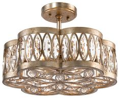 Lilliana Hollywood Antique Silver Crystal Mosaic 6 Light Semi-Flush Ceiling Moun - transitional - Flush-mount Ceiling Lighting - Kathy Kuo Home