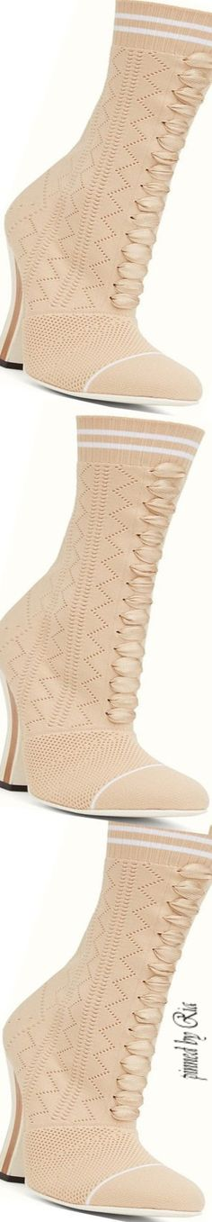 Fendi Beige Fabric Boot l Ria