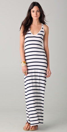 Striped V Neck Maxi Dress by madge