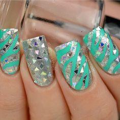 Aqua+Silver+Zebra+Bling=OMG @sprinklenails is a nail art genius! - Zebra Nail Stencils snailvinyls.com