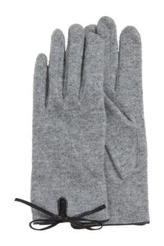 Gloves in a wool blend: Fine-knit gloves in a wool blend with imitation leather trims.h&m