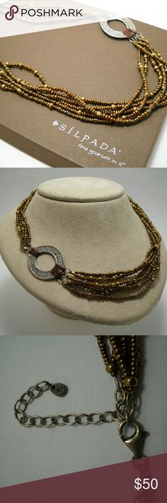 """Designer SILPADA Bronze Beaded & Sterling Necklace (N1785) Glass beads and sterling silver measuring an adjustable 18-20"""" in excellent used condition. Sorry, but the box was used for display only. Silpada Jewelry Necklaces"""