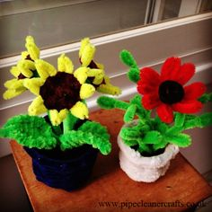 pipe cleaner flower pots - my obsession. explanations and tutorials are available on the site. sunflower tutorial is here http://youtu.be/OSBGElrD_6g