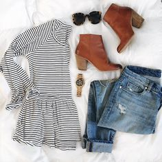 Stripes, jeans, and boots.