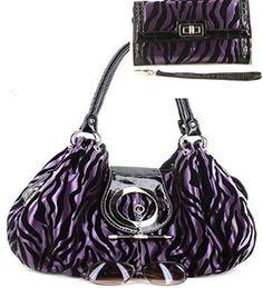 Purple Zebra Print Faux Leather Purse W Matching Wallet - Handbags, Bling & More!