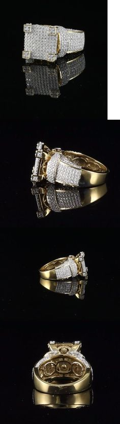 Rings 137856: 10K Yellow Gold Finish Lab Created Diamond Silver Mens Ring Size 8 -> BUY IT NOW ONLY: $89.99 on eBay!
