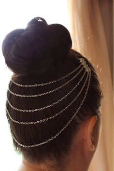 2015 New Hot Designer Women Girl multi layer necklace gold Hairpin Hair Clip Jewelry wedding decoration hair ornaments