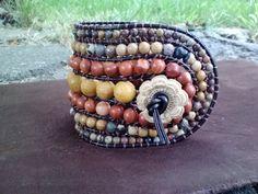 40% off Sale! Use HARVEST ~~Aztec Sun - Mixed Jasper Wrap Bracelet by skullmoto. Explore more products on http://skullmoto.etsy.com