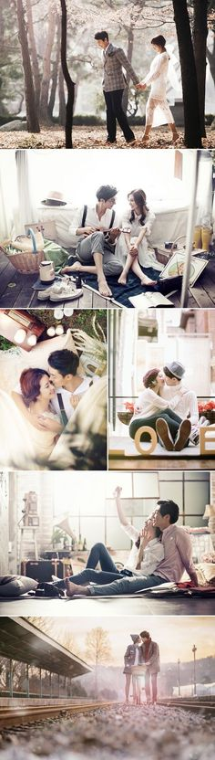 """I like the """"everyday"""" coziness of these pictures. Hike, living room, picnic, walk around quaint part if town, etc Real Life K-Drama 30 Dreamy Korean Concept Pre-wedding Photos! Pre Wedding Photoshoot, Wedding Poses, Wedding Shoot, Wedding Ideas, Photoshoot Ideas, Wedding Ceremony, Couple Photography, Photography Poses, Wedding Photography"""