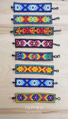 Items similar to Thin Huichol Bracelets - Mexican Art - Romea Accessories - Jewelry - Huichol Art - Beads on Etsy Loom Bracelet Patterns, Beaded Jewelry Patterns, Bead Loom Patterns, Beading Patterns, Seed Bead Necklace, Seed Bead Bracelets, Huichol Art, Mexican Pattern, Loom Bracelets