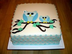 Owl Baby Shower Cake.  (owl shape would be easy for cookies, also)
