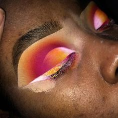 Orange Pink White Eyeshadow   Bold Eye Look   Makeup on Dark Skin Women   Ombré Wing Liner   #makeup #eyemakeup Pin: @amerishabeauty