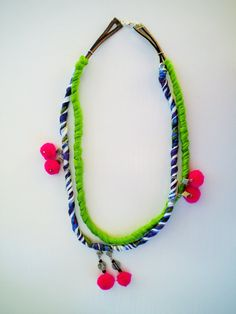 Ethnic rope necklace textile necklace tassel necklace by JIAKUMA